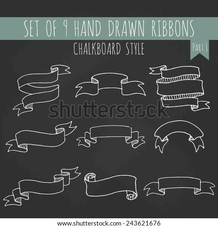 Big set of blank cute white outline ribbon banners in chalkboard style. Hand drawn vector illustration of decorative elements for your design. Part 1. - stock vector