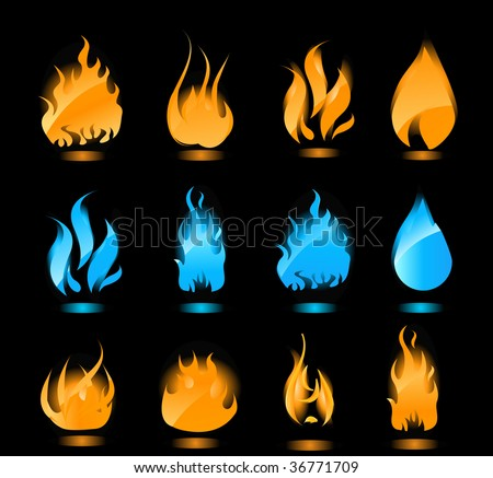 Big set of blue and orange flames with glowing. Gas flames and fire flames. - stock vector
