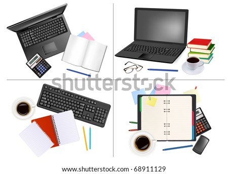 Big set of business and office backgrounds. Vector illustration. - stock vector
