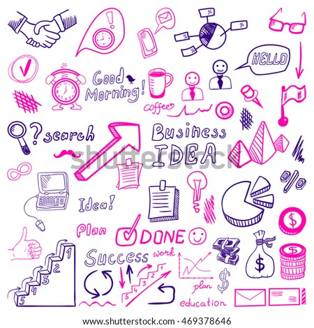 Big set of business doodles, purple and magenta hand drawn icons on white background.