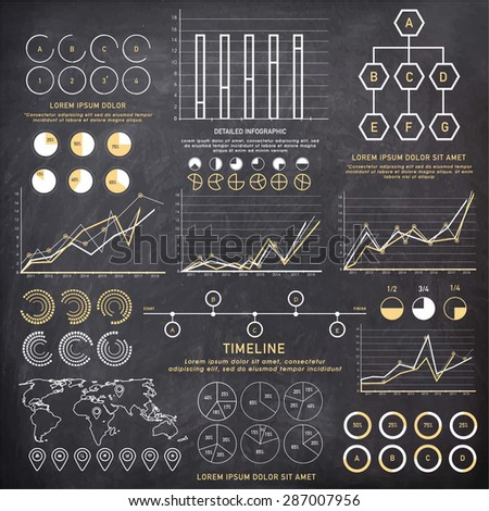 big set of Business Infographics elements with different statistical graphs and charts to present your data effectively. - stock vector