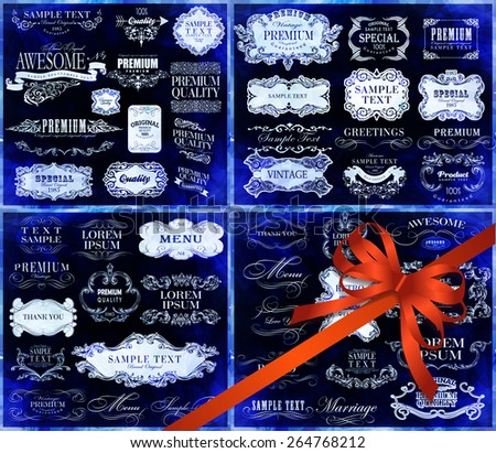 Big set of calligraphic elements for design  can be used for invitation, congratulation - stock vector