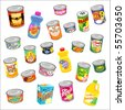 big set of canned goods and supplies - stock vector