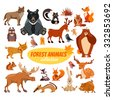 Big set of cartoon forest animals.Wolf,bears,hedgehog,skunk,deers,beaver,fox,mouse,birds,elk,lynx,squirrel,hare,owl. Wildlife icon set isolated on white - stock vector