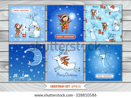Big Set of Christmas cards and pattern with a girl and reindeer. Collection design elements, vector images. New Year. Winter. - stock vector
