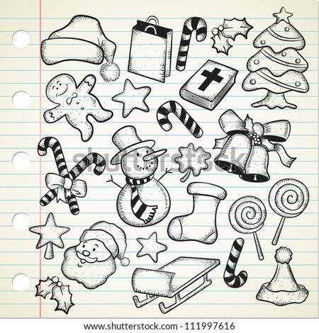 big set of Christmas doodle - stock vector