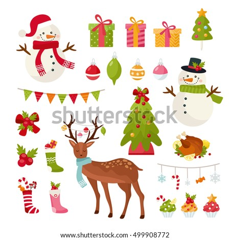 Big set of Christmas elements. New Year illustration. Deer, snowman, Xmas tree, holiday gifts and other attributes. Flat and cute style.
