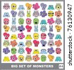 Big set of colorful monsters - stock vector