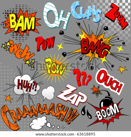 Big Set of comic book explosion for your design - stock vector