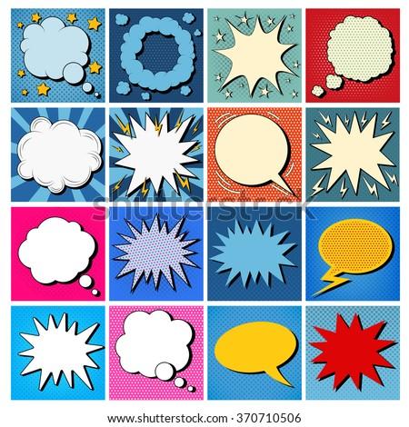 Big Set of Comics Bubbles in Pop Art Style. Vector illustration  - stock vector