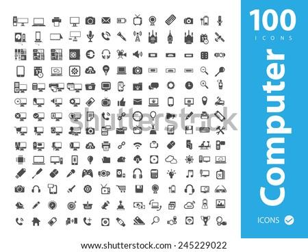 Big set of Coputer ,Coputer accessories, Office , Media icons - stock vector