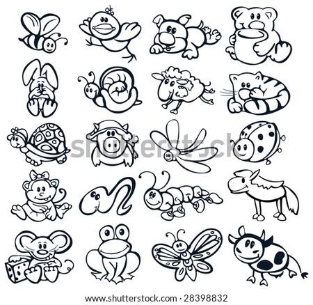 Big set of cute animals. - stock vector