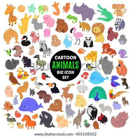 Big set of cute cartoon animal icons isolated on white background. Vector illustration. Child fun pattern sticker. Kids collection. Wild safari fauna design. Sea and bird characters. Funny symbols. - stock vector
