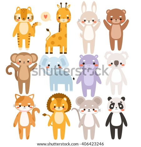 big set of cute cartoon animals. Illustration of cute tiger, giraffe, bunny, bear, monkey, elephant, koala, cat, lion, mouse, panda. Can be used like stickers, for birthday cards and party invitations - stock vector