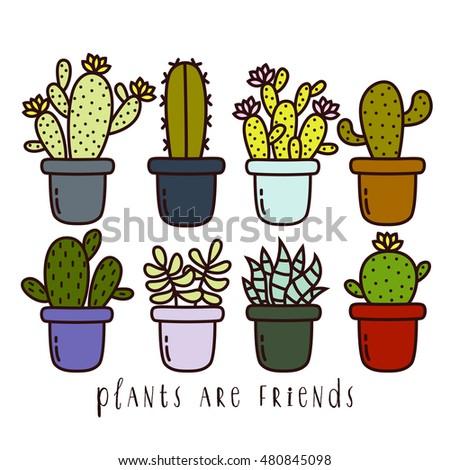 Big Set Cute Cartoon Cactus Succulents Stock Photo (Photo, Vector ...