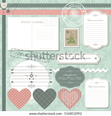 Big set of cute scrapbook design elements on seamless mint green damask pattern.
