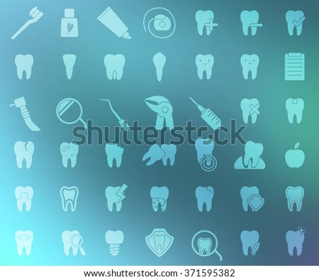 Big set of dental icons. Stomatology signs. Hygiene,treatment, issues, tools, protection, problems, tooth icons on blue blurred background . Vector illustration - stock vector