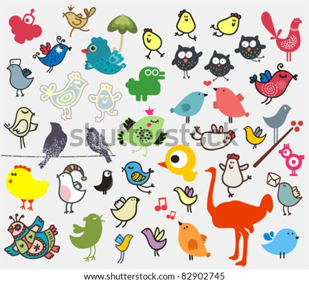 Big set of different cute birds (owl, ostrich, bullfinch, chicken ...). Vector icons for your design. - stock vector