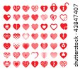 big set of 49 different red hearts - stock photo