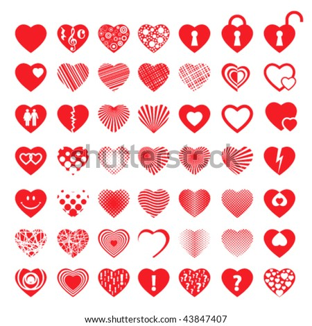 big set of 49 different red hearts - stock vector