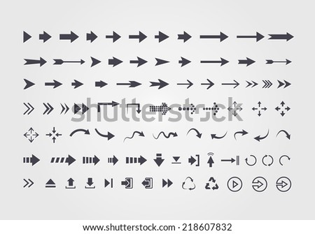 Big set of different vector arrows isolated on white background - stock vector