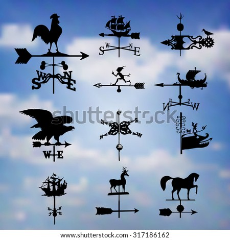 Big set of different weather vanes.Vector illustration. Against the blue sky - stock vector