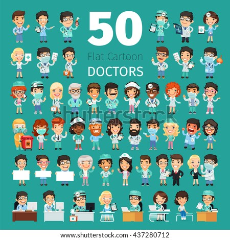 Big set of 50 doctors and other hospital workers. Clipping paths included. - stock vector
