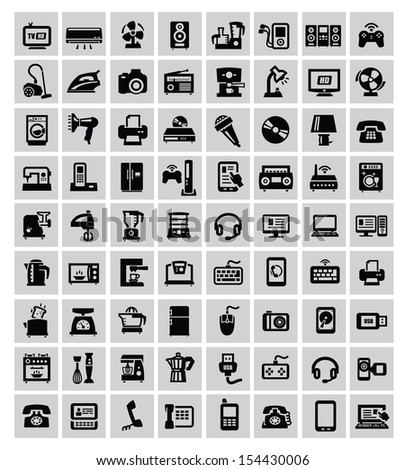 big set of electronic devices on gray - stock vector