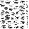 Big Set of Eyes Hand Drawn - stock vector