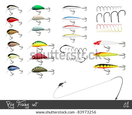Big set of fishing gear. Vector illustration. - stock vector