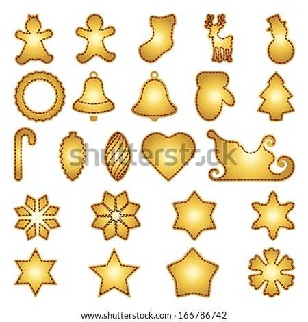 Big set of flat Christmas flat icons. New Year greeting card templates. Happy cookies holidays elements . Isolated on white, vector