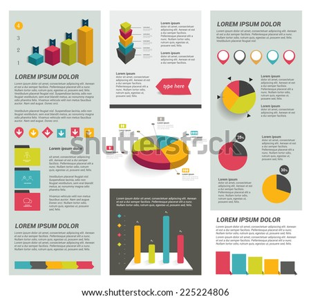 Big set of flat infographic elements. Layout template. Vector.  - stock vector