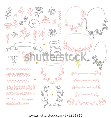 Big set of floral graphic design elements graphic, wreaths, ribbons and labels.  gold, black, pink colors - stock vector