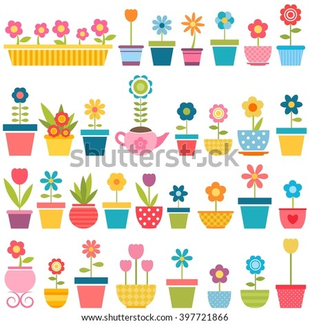 big set of flowers in pots - stock vector
