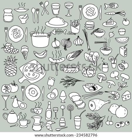 Big set of food Icons. - stock vector