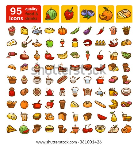 Big set of food icons and stickers. Color design elements. - stock vector