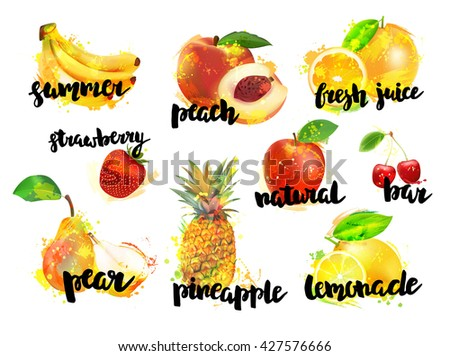 Big set of fresh fruits and berries. Banana, peach, lemon, strawberry, apple, cherry, pear, pineapple, orange with lettering. - stock vector