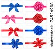 Big set of gift bows with ribbons. Vector. - stock photo