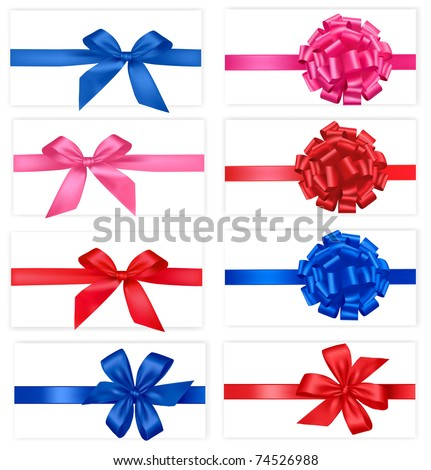 Big set of gift bows with ribbons. Vector. - stock vector