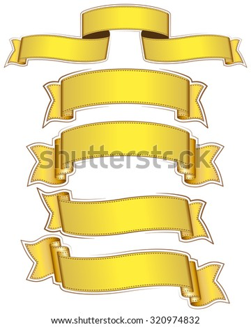 Big set of gold ribbon on white background. Vector illustration. - stock vector