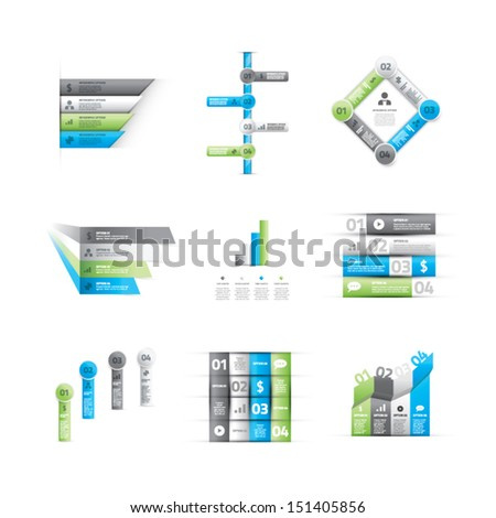 Big set of green and blue infographic option elements vector - stock vector