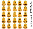 Big set of 15 Halloween pumpkins with different mouths, eyes and noses for Jack O`Lantern face, vector illustration - stock vector