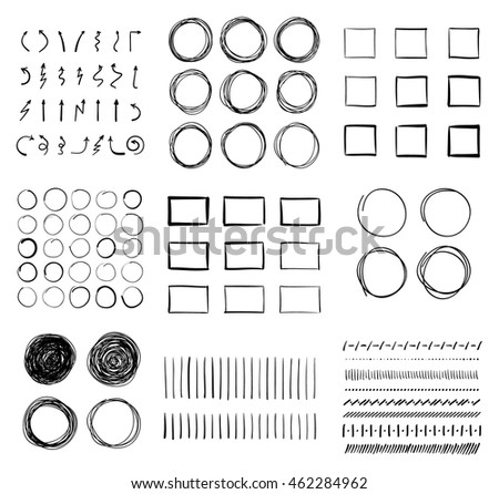 Big set of hand-drawn doodle design elements. Circles, arrows, lines, squares for your pen highlight projects