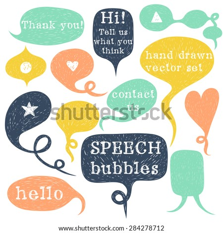 Big set of hand drawn speech bubbles isolated on white background. Doodle cartoon comic bubbles. - stock vector