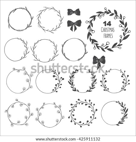 Big set of hand drawn vector round christmas frames. Floral wreaths with leaves, berries, spruce, twigs, lights, bows. Decorative elements for design. Ink, vintage, rustic, winter. - stock vector