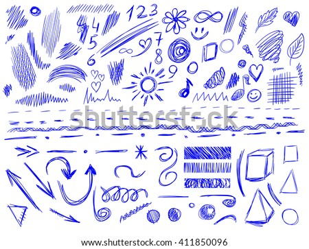 Big set of 105 hand-sketched design elements, pen drawings, VECTOR illustration isolated on white. Blue scribble lines.