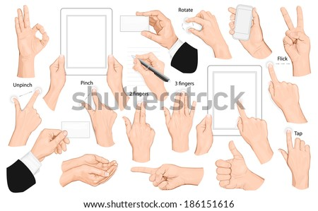 Big set of hands and gestures. Vector illustration. - stock vector