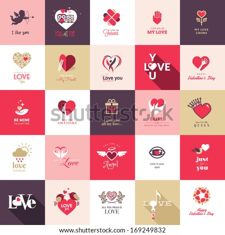 Big set of icons for Valentines day, Mothers day, wedding, love and romantic events - stock vector