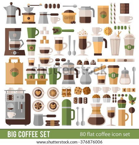 Big set of icons in flat style. Stylish coffee set of icons. Coffee, coffee drinks, coffee pots, and other devices and desserts. - stock vector
