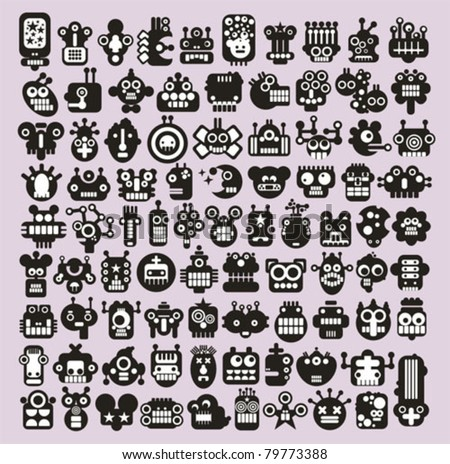 Big set of icons with monsters and robots faces #3. Vector illustration. - stock vector